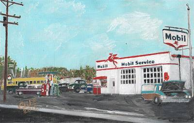 Service Station Painting - Koki's Garage by Cliff Wilson