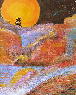 Kokopelli And The Big Moon Art Print by Anne-Elizabeth Whiteway