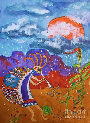 Green Beans Mixed Media - Kokopelli Bringing The Rains by Ellen Levinson