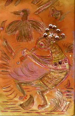 Kokopelli Dancing Up A Storm Art Print by Anne-Elizabeth Whiteway