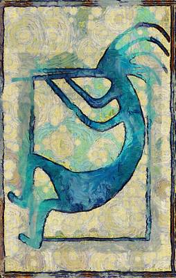 Kokopelli In Blue And Brown Art Print by Shannon Story