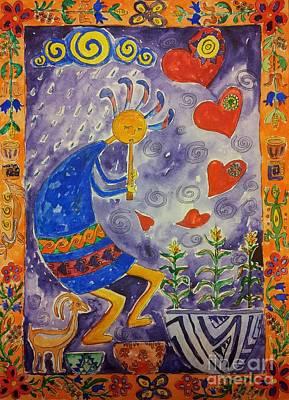 Kokopelli In Love Art Print by Maryna Salagub