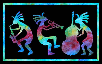 Kokopelli Jazz Trio Art Print by Jenny Armitage