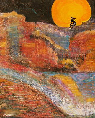 Kokopelli Painting - Kokopelli On A Marmalade Moon Night Revisited by Anne-Elizabeth Whiteway