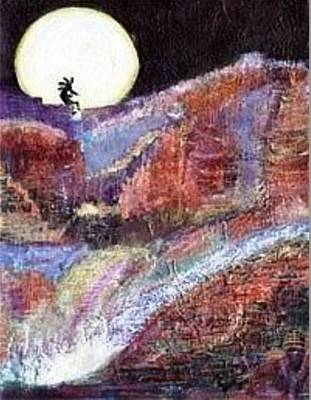 Indian Lore Painting - Kokopelli On Top Of The World II by Anne-Elizabeth Whiteway