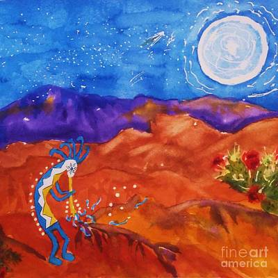 Painting - Kokopelli Playing To The Moon Square by Ellen Levinson