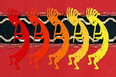 Kokopelli Quintet 4 Art Print by Robert J Sadler