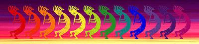 Symbol Of Fertility Digital Art - Kokopelli Rainbow At Sunrise by Robert J Sadler