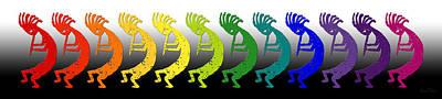 Symbol Of Fertility Digital Art - Kokopelli Rainbow In Moonlight by Robert J Sadler