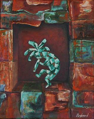 Kokopelli Set In Stone Art Print by Judy Lybrand