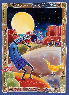 Myths Painting - Kokopelli Sings Up The Moon by Harriet Peck Taylor
