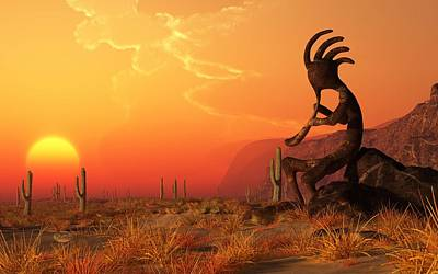 Desert Sunset Digital Art - Kokopelli Sunset by Daniel Eskridge