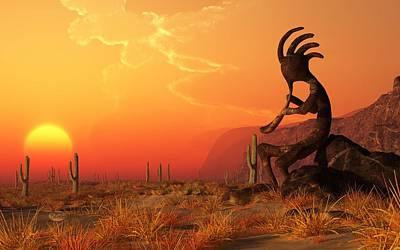 Digital Art - Kokopelli Sunset by Daniel Eskridge