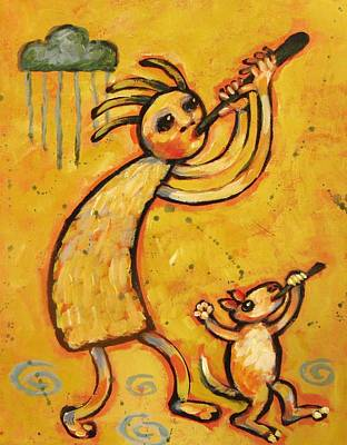 Kokopelli With Musical Dog Art Print