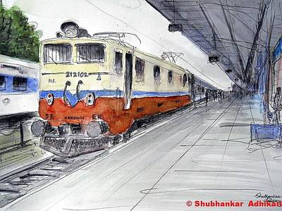 Hyderabad Artist Painting - Kolkata Bound Super Fast Train by Shubhankar Adhikari