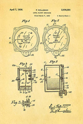 Flying Photograph - Kollsman Altimeter Patent Art 1936 by Ian Monk