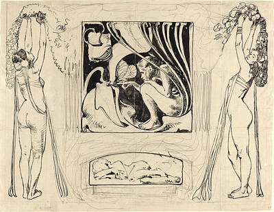 Wash Drawing - Koloman Moser, Austrian 1868-1918, Allegory Of Summer by Litz Collection