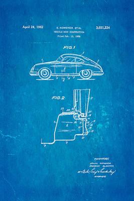 Car Photograph - Komenda Porsche Body Construction Patent Art 1962 Blueprint by Ian Monk