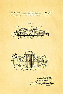 Car Photograph - Komenda Porsche Open Top Body Design  Patent Art 1957 by Ian Monk