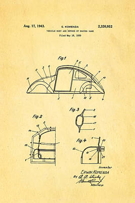 Komenda Vw Beetle Body Design Patent Art 1943 Art Print by Ian Monk