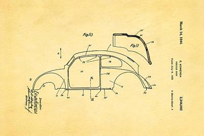 1944 Photograph - Komenda Vw Beetle Body Design Patent Art 2 1944 by Ian Monk