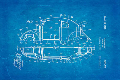Komenda Vw Beetle Body Design Patent Art 3 1944 Blueprint Art Print by Ian Monk