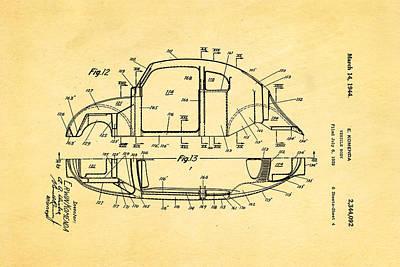 Komenda Vw Beetle Body Design Patent Art 3 1944 Art Print by Ian Monk