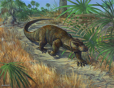 Indonesian Painting - Komodo Dragon On The Prowl by ACE Coinage painting by Michael Rothman