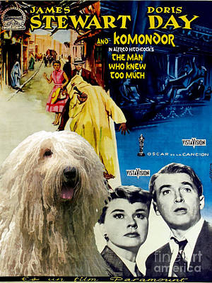 Painting - Komondor Art Canvas Print - The Man Who Knew Too Much Movie Poster by Sandra Sij