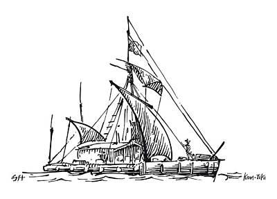 Kon-tiki Balsa Raft Print by Gary Hincks