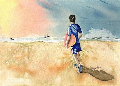 Painting - Kona Hawaii Boy Surfing by Sharon Mick