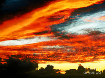 Art Print featuring the photograph Kona Sunset 77 Lava In The Sky  by David Lawson