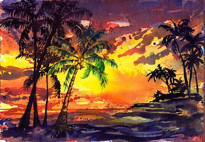 Kailua Painting - Kona Sunset by Lisa Bunge