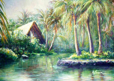 Painting - Kona Village by Mary Lovein