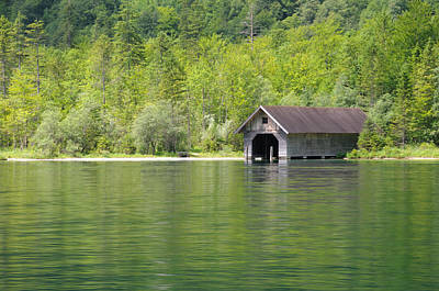 Art Print featuring the photograph Konigsee Boathouse by Jeremy Voisey