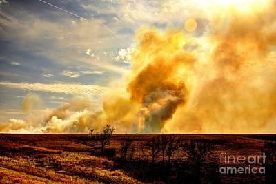 Konza Prairie Photograph - Konza Prairie Burn by Jean Hutchison