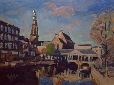 Holland Painting - Koorn Bridge Leiden by Nop Briex