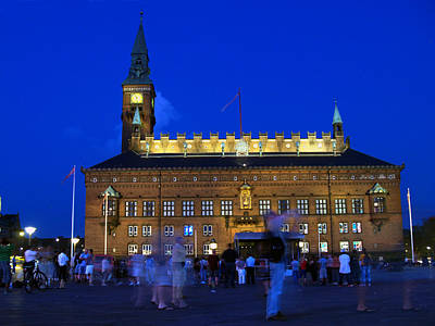 Photograph - Kopenhavn Denmark Town Hall And Plaza 03 by Jeff Brunton