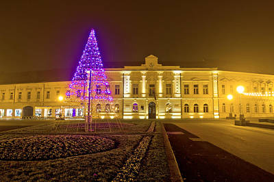 Photograph - Koprivnica Night Street Christmas Scene by Brch Photography