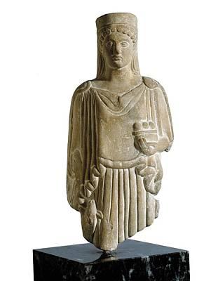 Statue Portrait Photograph - Kore. 6th C. Bc. Baked Clay. Archaic by Everett
