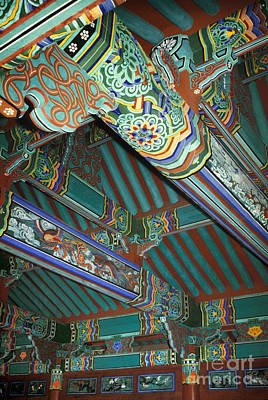 Photograph - Korea Temple Buddhist Architecture Photographs - Temple Beams by Sharon Hudson