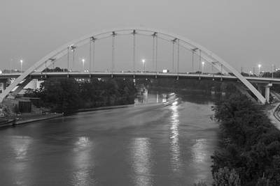 Art Print featuring the photograph Korean Veterans Bridge At Night by Robert Hebert