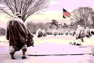 Lincoln Memorial Mixed Media - Korean War Memorial by Charles Shoup