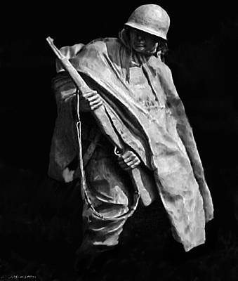 Painting - Korean War Veterans Memorial Rifleman by Bob and Nadine Johnston