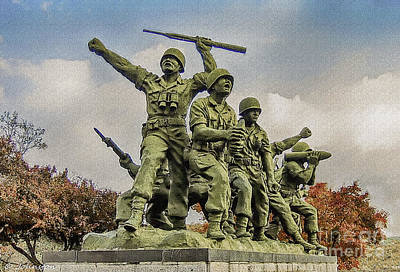 Painting - Korean War Veterans Memorial South Korea by Bob and Nadine Johnston