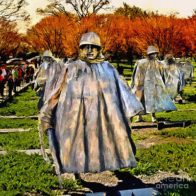 Painting - Korean War Veterans Memorial Sunset by Bob and Nadine Johnston