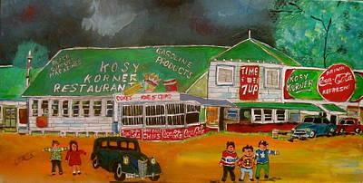 Hockey Sweaters Painting - Kosy Korner  by Michael Litvack
