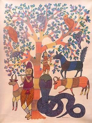 Indian Tribal Gond Art Painting - Kpt 30 by Kaushal Prasad Tekam