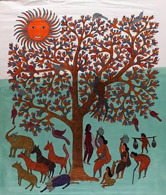 Indian Tribal Gond Art Painting - Kpt 51 by Kaushal Prasad Tekam
