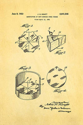 Photograph - Kraft Cheese Triangle Patent Art 1951 by Ian Monk